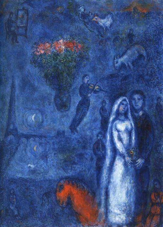 Artist and his bride 1980 - by Marc Chagall