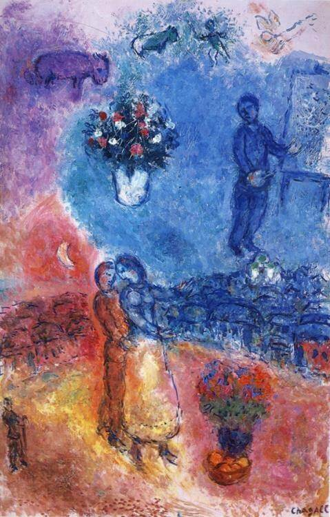 Artist over vitebsk 1982 - by Marc Chagall