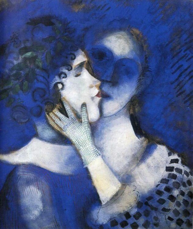 Blue lovers 1914 - by Marc Chagall