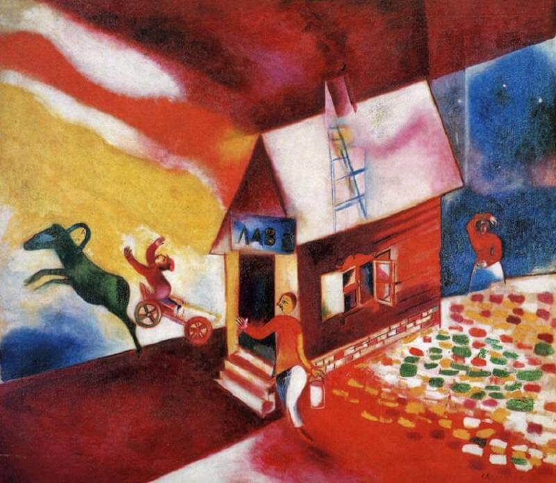 The Burning House, 1913 - by Marc Chagall
