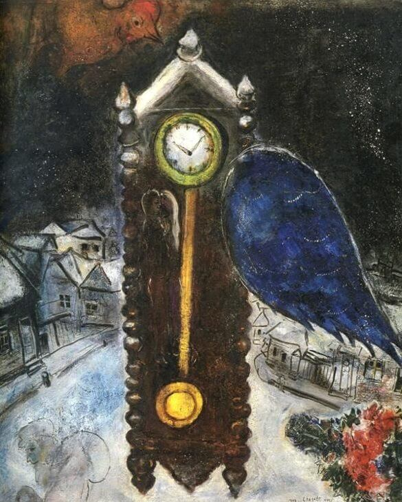 Clock with blue wing 1949 - by Marc Chagall