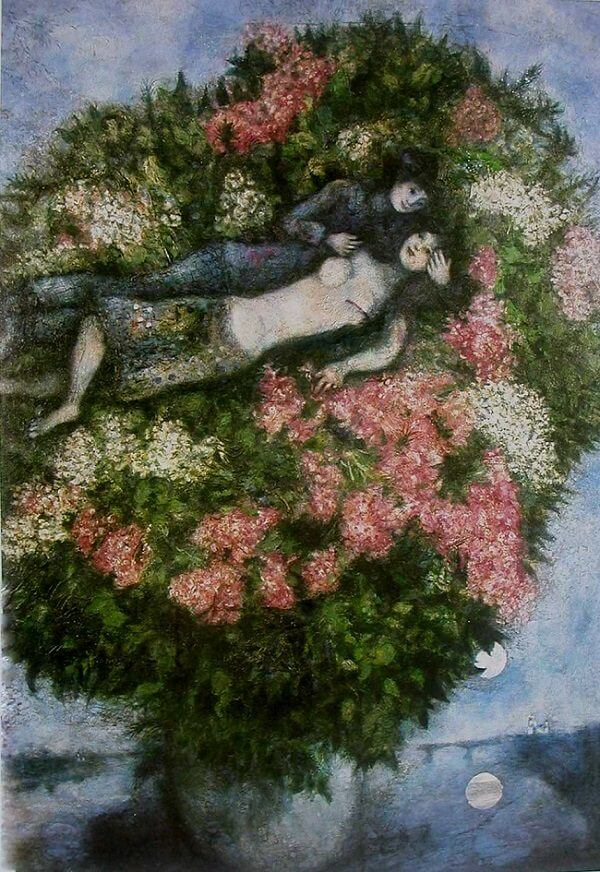 Lovers in the Lilacs, 1930 by Marc Chagall