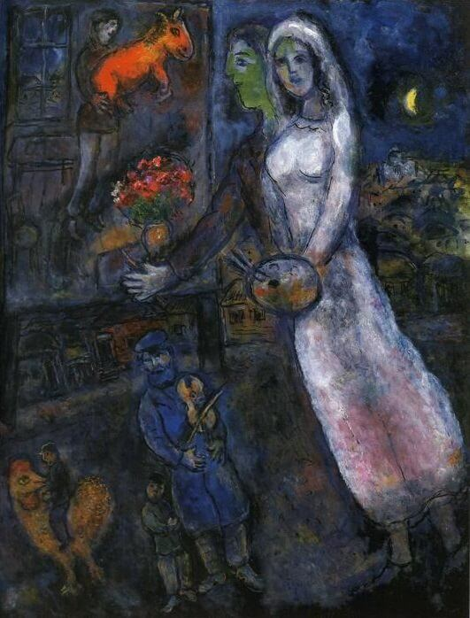 Newlyweds and violinist 1956 - by Marc Chagall