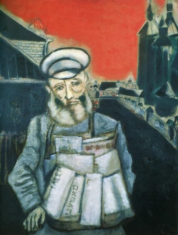 Newspaper seller, 1914 - by Marc Chagall