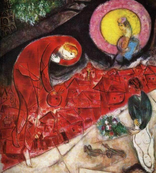 Red Roofs, 1953 - by Marc Chagall