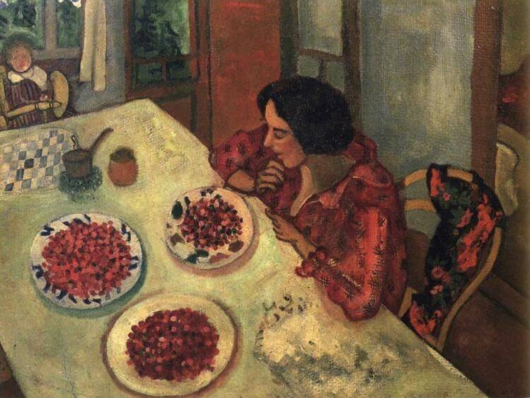 Strawberries bella and ida at the table - by Marc Chagall