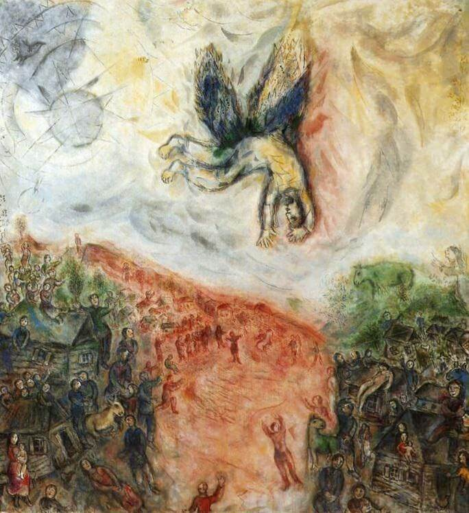 The fall of icarus 1975 - by Marc Chagall