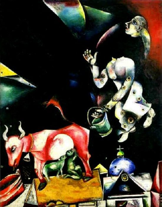 To Russia, Asses, and Others, 1911 - by Marc Chagall